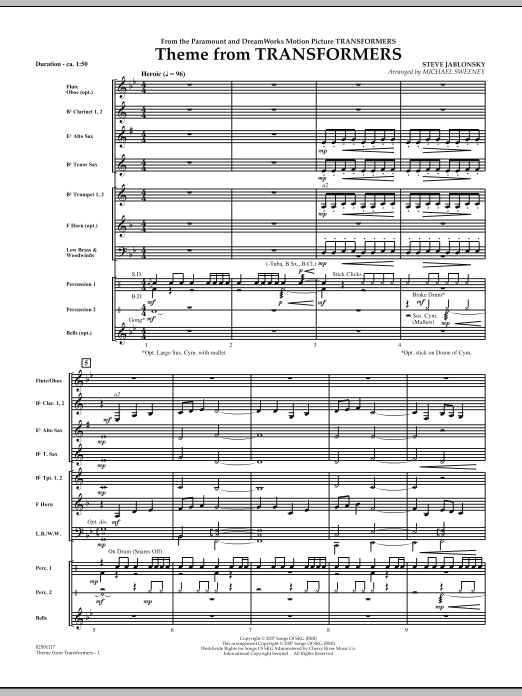 Theme From Transformers (COMPLETE) sheet music for concert band by Michael Sweeney and Steve Jablonsky. Score Image Preview.