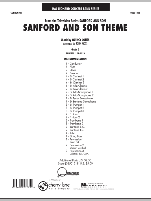 Sanford And Son Theme (COMPLETE) sheet music for concert band by John Moss and Quincy Jones. Score Image Preview.