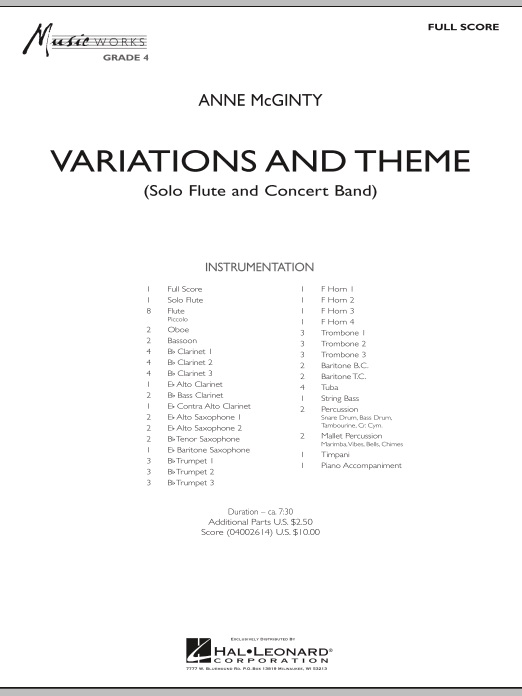 Variations And Theme (for Flute Solo And Band) (COMPLETE) sheet music for concert band by Anne McGinty. Score Image Preview.