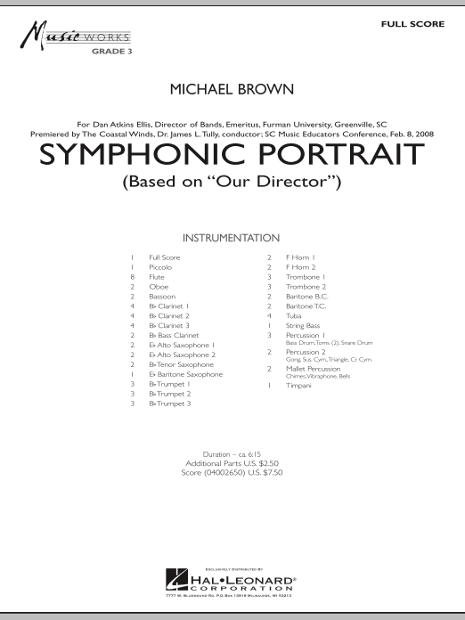Symphonic Portrait (based on Our Director) (COMPLETE) sheet music for concert band by Michael Brown. Score Image Preview.