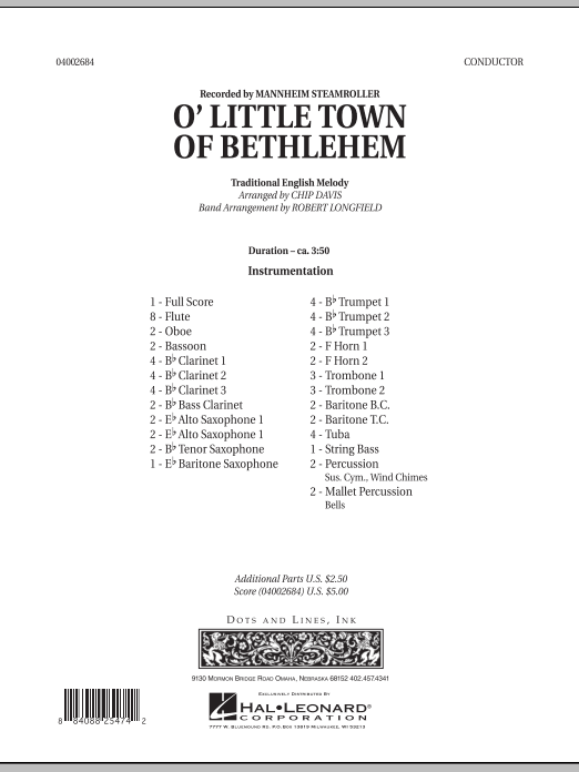 O Little Town Of Bethlehem (COMPLETE) sheet music for concert band by Robert Longfield, Chip Davis and Mannheim Steamroller. Score Image Preview.