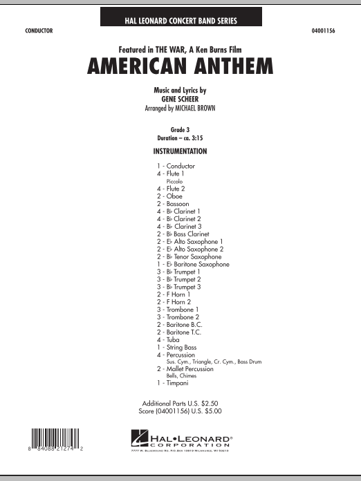 American Anthem (from The War) - Full Score (Concert Band)