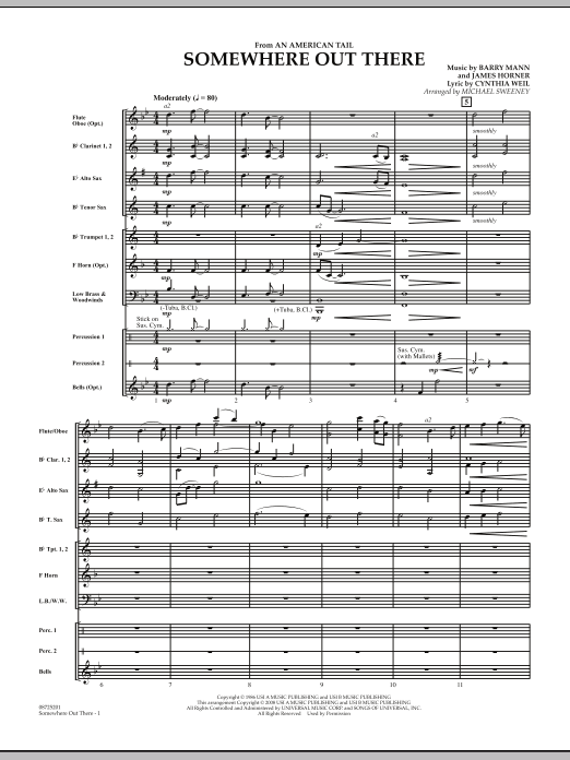 Somewhere Out There (from An American Tail) (COMPLETE) sheet music for concert band by James Horner, Barry Mann, Cynthia Weil and Michael Sweeney. Score Image Preview.