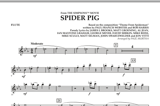 Spider Pig (from The Simpsons Movie) - Flute (Concert Band)