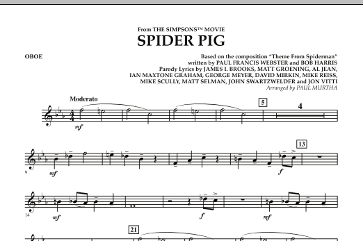 Spider Pig (from The Simpsons Movie) - Oboe (Concert Band)