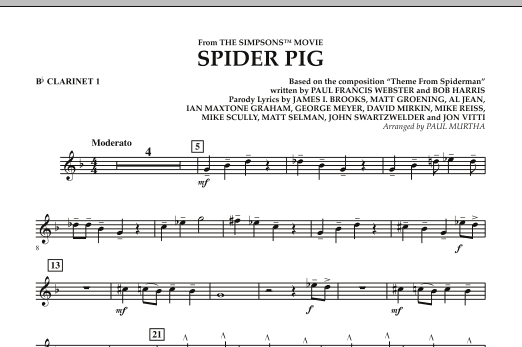 Spider Pig (from The Simpsons Movie) - Bb Clarinet 1 (Concert Band)