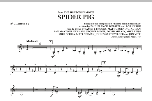 Spider Pig (from The Simpsons Movie) - Bb Clarinet 2 (Concert Band)