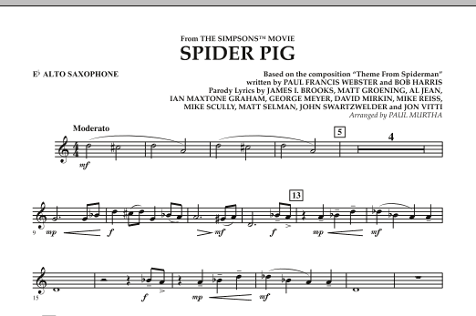 page one of Spider Pig (from The Simpsons Movie) - Eb Alto SaxophoneASALTTEXT