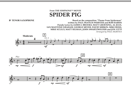 Spider Pig (from The Simpsons Movie) - Bb Tenor Saxophone (Concert Band)