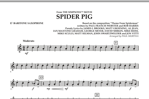 page one of Spider Pig (from The Simpsons Movie) - Eb Baritone SaxophoneASALTTEXT