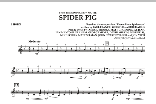 Spider Pig (from The Simpsons Movie) - F Horn (Concert Band)
