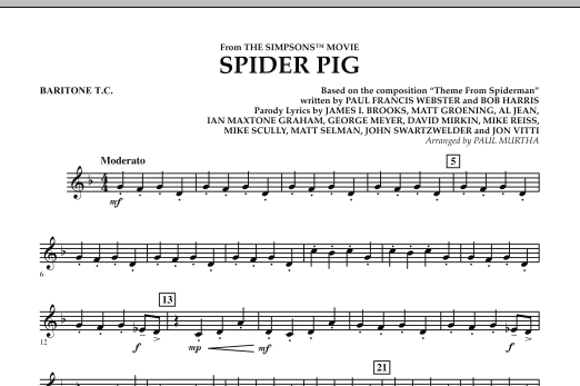 Spider Pig (from The Simpsons Movie) - Baritone T.C. (Concert Band)