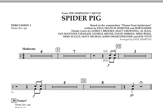 Spider Pig (from The Simpsons Movie) - Percussion 1 (Concert Band)