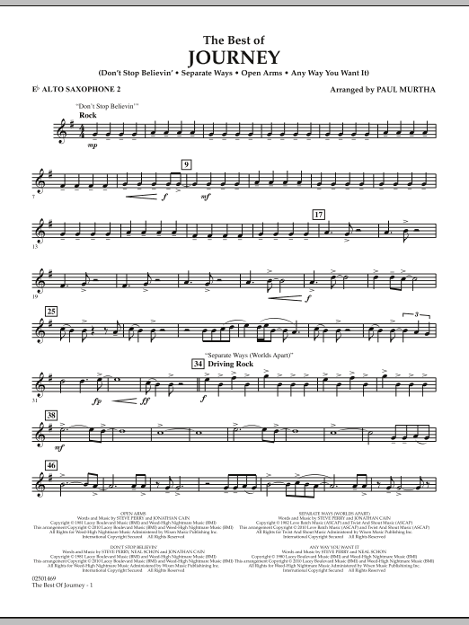 The Best Of Journey - Eb Alto Saxophone 2 (Concert Band)