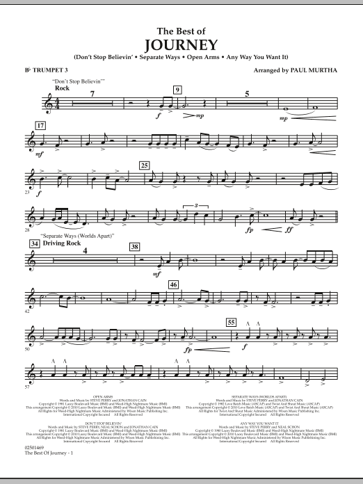 The Best Of Journey - Bb Trumpet 3 (Concert Band)
