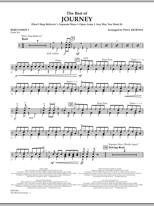 The Best Of Journey - Percussion 1 (Concert Band)
