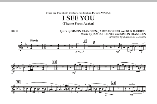 I See You (Theme from Avatar) - Oboe (Concert Band)