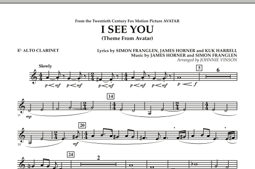 I See You (Theme from Avatar) - Eb Alto Clarinet (Concert Band)