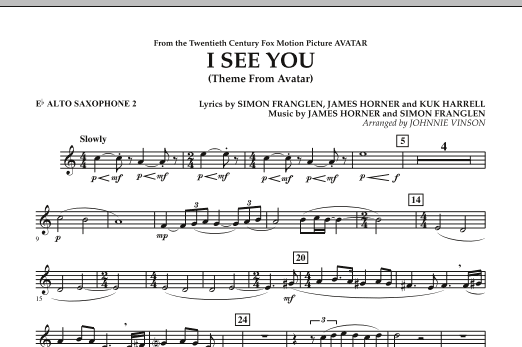 I See You (Theme from Avatar) - Eb Alto Saxophone 2 (Concert Band)