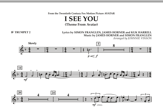 I See You (Theme from Avatar) - Bb Trumpet 2 (Concert Band)