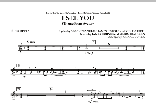 I See You (Theme from Avatar) - Bb Trumpet 3 (Concert Band)