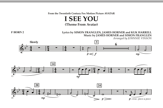 I See You (Theme from Avatar) - F Horn 2 (Concert Band)