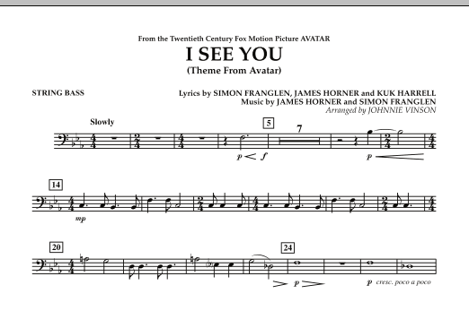 I See You (Theme from Avatar) - String Bass (Concert Band)