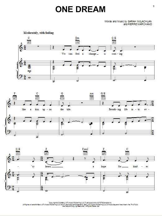 One Dream Sheet Music