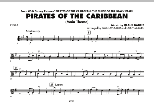 Pirates Of The Caribbean Main Theme Viola Sheet Music To Download