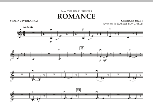 Romance (from The Pearl Fishers) - Violin 3 (Viola T.C.) (Orchestra)