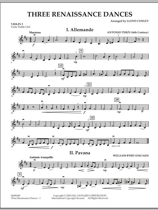 Three Renaissance Dances - Violin 3 (Viola Treble Clef) (Orchestra)