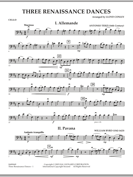 Three Renaissance Dances - Cello (Orchestra)