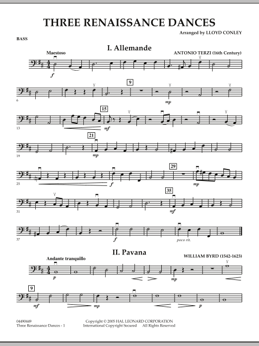Three Renaissance Dances - Bass (Orchestra)