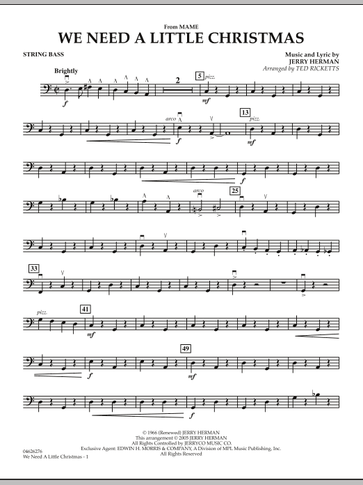 We Need A Little Christmas (from Mame) - String Bass (Orchestra)