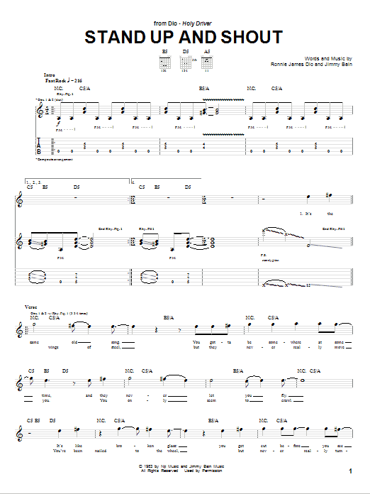Stand Up And Shout Sheet Music