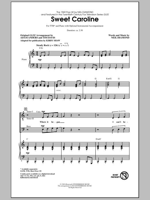 Sweet Caroline sheet music by Kirby Shaw (Choral – 287399)