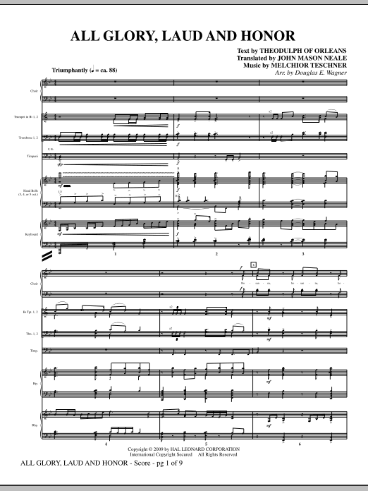 All Glory, Laud And Honor (COMPLETE) sheet music for orchestra/band (Special) by Douglas E. Wagner. Score Image Preview.