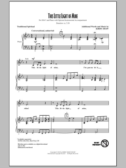 This Little Light Of Mine Sheet Music