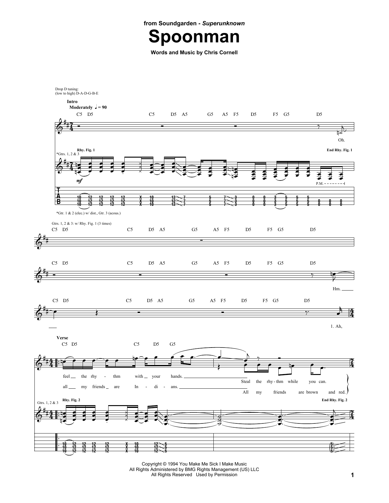 Tablature guitare Spoonman de Soundgarden - Tablature Guitare
