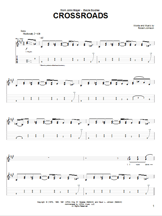 Cross Road Blues (Crossroads) Sheet Music