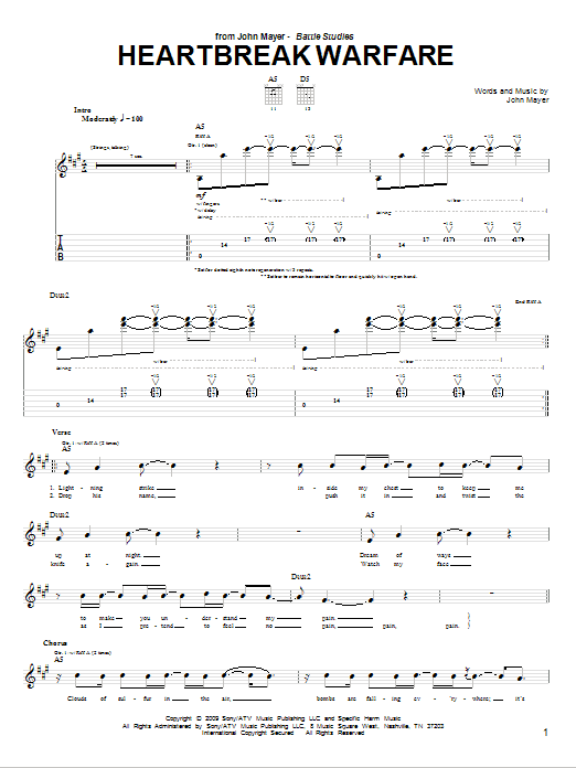 Tablature guitare Heartbreak Warfare de John Mayer - Tablature Guitare