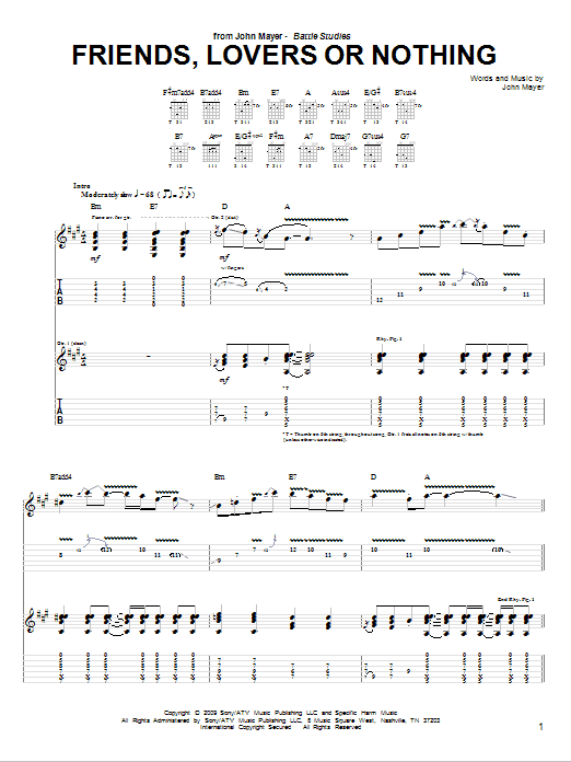 Tablature guitare Friends, Lovers Or Nothing de John Mayer - Tablature Guitare