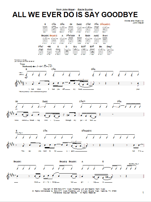 Tablature guitare All We Ever Do Is Say Goodbye de John Mayer - Tablature Guitare