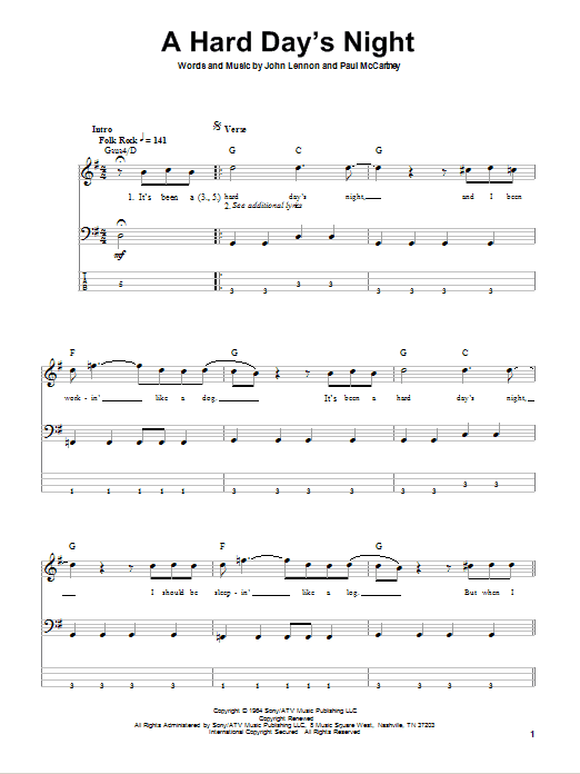 A Hard Day's Night (Bass Guitar Tab)