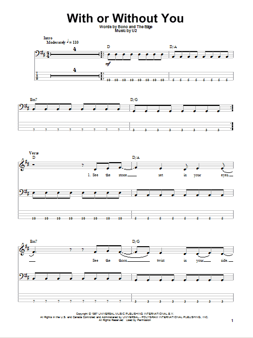 With Or Without You Bass Guitar Tab by U2 (Bass Guitar Tab – 73705)
