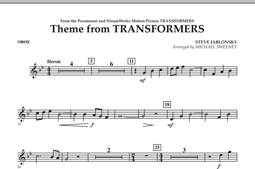Theme From Transformers - Oboe (Concert Band)