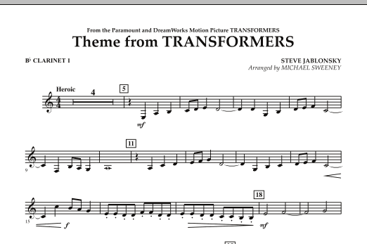 Theme From Transformers - Bb Clarinet 1 (Concert Band)