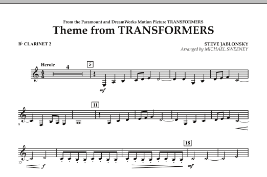 Theme From Transformers - Bb Clarinet 2 (Concert Band)