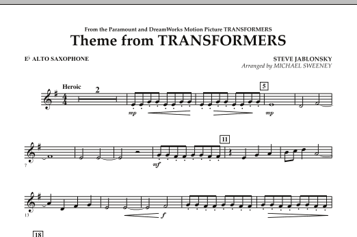 Theme From Transformers - Eb Alto Saxophone (Concert Band)
