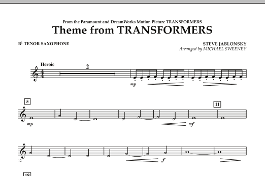 Theme From Transformers - Bb Tenor Saxophone (Concert Band)